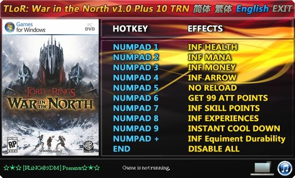 5927538975015 The Lord of the Rings: War in the North +10 Trainer