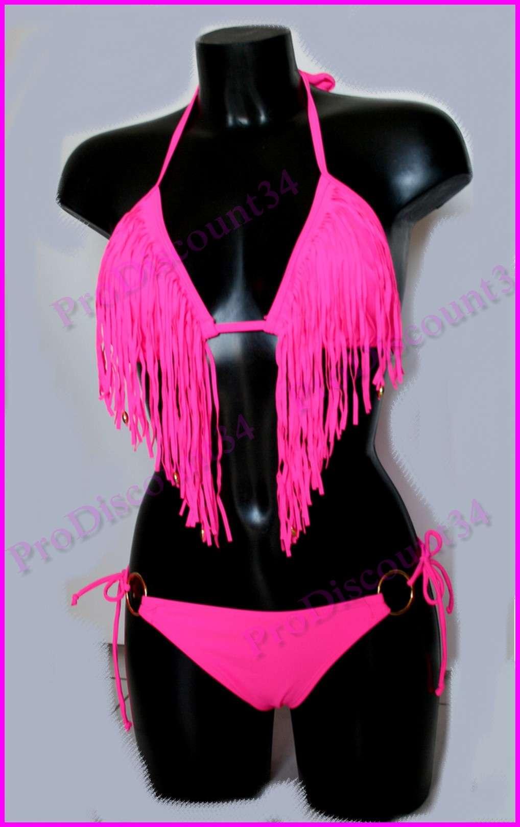 maillot de bain bikini string tanga culotte sexy top triangle frange usa 36 38 ebay. Black Bedroom Furniture Sets. Home Design Ideas